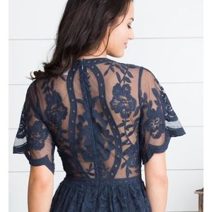 Honey Punch Dresses - 🆕Honey Punch Navy Lace Overlay Romper Maxi Dress